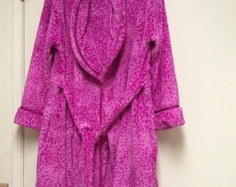 Robe super soft large fleece velvet velour attached ties knee-length magenta animal print