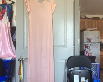 Long Rayon nightgown med-XL vtg 30s short slv/flawed, needs TLC:see details