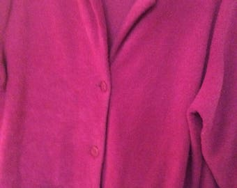 """Plus size 1X jacket 32""""long button front magenta/raspberry textured unlined"""