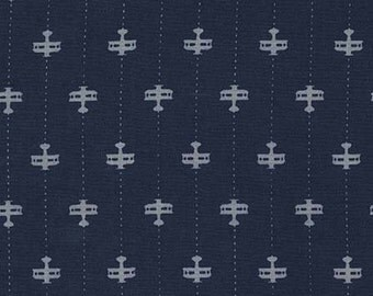 Runway Planes in Navy DC7212 - Michael Miller Fabrics - By the Yard