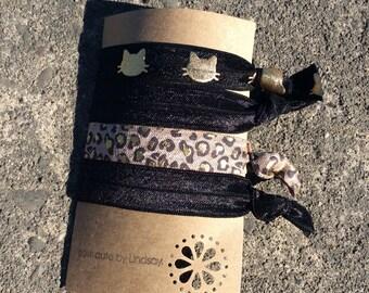 Knotted elastic hair tie set - black, gold metallic cats, black and metallic leopard print