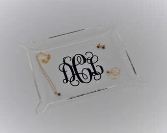 Clear Acrylic Tray Personalized Tray Jewelry Tray Monogrammed Tray Makeup Tray Acrylic Organizer Perfume Tray Vanity Tray Trinket Tray Candy