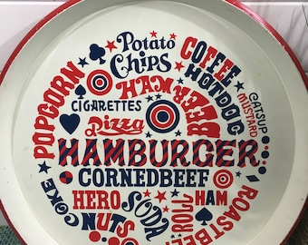 """Vintage Metal Serving Tray Called Party Time by JSC with Red, White and Blue American Foods 13 1/2"""" Wide- patriotic tray, Fourth of July"""