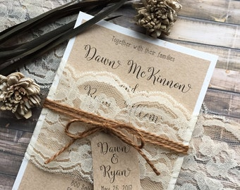 Rustic Wedding Invitation Vintage Shabby Chic Invitations Lace