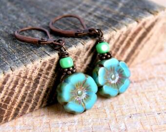 blue flower drop earrings, beaded earrings, drop dangle, blue earrings, leverback earrings, handmade