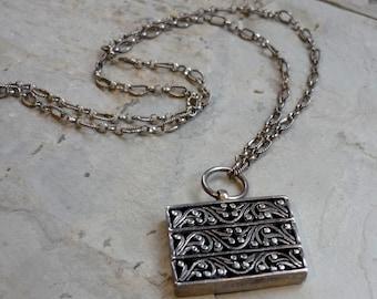 Filigree Boho Style, Sterling Silver Necklace, Rectangle Pendant, Big Pendant, Oxidized Necklace, Long Pendant Necklace, Statement Necklace