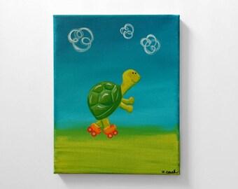 Rollerskating Turtle Original Painting 8x10