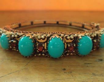 Antique Solid 14K Persian Turquoise Garnet Hinged Bangle Bracelet