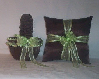 Chocolate Brown Satin With Light Mint Green Ribbon Trim Flower Girl Basket And Ring Bearer Pillow