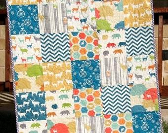 Deer Quilt, Organic All Natural, Woodland Animals, Bears Forest, Navy Blue Yellow Grey Green, Birch Fabrics, Chevron Boy Girl