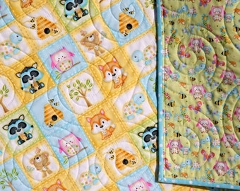 Woodland Cuties Quilt, Pastel Baby Blanket, Fox Racoons Bears Owls, Woodland Animals, Boy or Girl Heirloom Gift, Infant Bedding, Crib Cot,