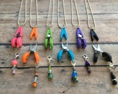 Scissor/Stitch Marker Necklace - Removable knitting marker & travel/plane thread snips!