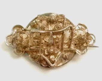 "Antique Victorian Gold Tone Filigree Metal Openwork Belt Buckle Brooch Pin ""C"" Clasp"