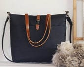 LARGE, Darknavy front pocket tote / diaper bag / shoulder bag. 9 inside pockets. Waterproof lining available