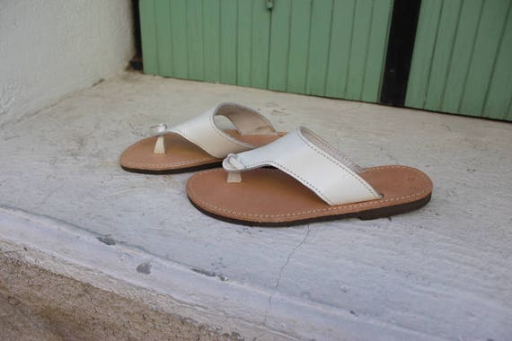 SALE SIZE 38 US 7-7.5 Greek  sandals white sandals sandales grecques 38