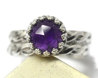 Amethyst Wedding Set, Engraved Bridal Set, Natural Gemstone Engagement Ring, Celtic Style Wedding Band, Purple Gemstone Engravable Jewelry