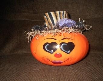 Hand painted dried canteen pumpkin gourd.