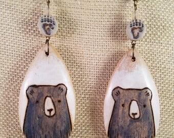 Wooden Bear Earrings