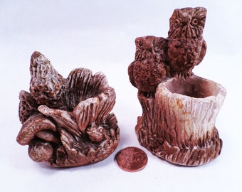 Owls and Morrel Mushroom Rustic Toothpick Holders Set Vintage 70s