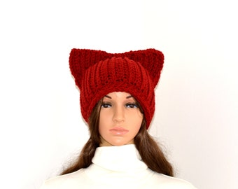 Cat beanie,Cat Ears Beanie,Maroon Cat Hat,Crochet Ribbed Cat Ears,Chunky Cat Hat,kitty beanie,Unique cat lovers gift,READY TO SHIP