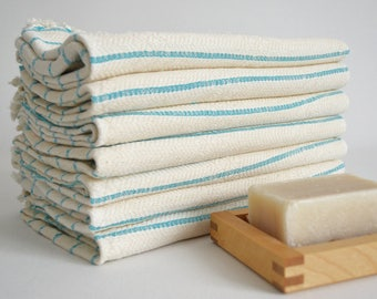 SALE 50 OFF/ SET 2 Towels / Head and Hand Towel / Striped Style / Blue Striped