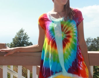 Tie Dye Rachel Sleeveless Shirt | Size S upcycled