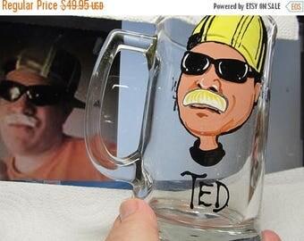 ON SALE Cartoon Portrait  Caricature  Hand Painted Glass Groomsman Wedding  Beer Mug