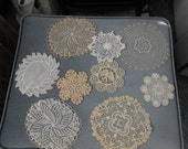 "9 Small vintage Handmade Doilies , 1 antique, 3 factory made, 6 handmade, crochet, lace, cottage, sweet 3.5"" to 6"""