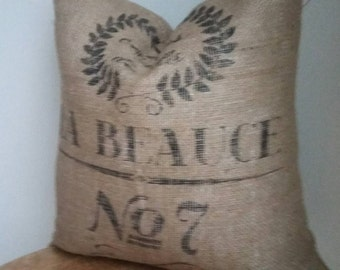 Vintage reproduction French grain sack burlap pillow cover  toss rustic luxe boho chic modern country Christmas black beige tan
