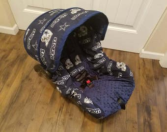 Baby Boy Infant Car Seat Cover, Dallas Cowboys Car Seat Cover in Navy Infant Car Seat Covers Boy- Football baby seat cover