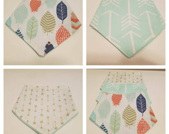 Bandana baby bibs, Arrow drool bibs, feathers and mint colors - 3pc set great baby shower gift