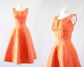 SUZY PERETTE Vintage 50s Dress | 1950s Fit and Flare Orange Cotton Day Dress w/ Full Skirt | Designer, Rockabilly, Swing, VLV | Extra Small