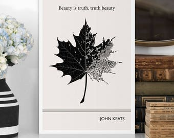 Modern Art Prints, John Keats Quote Minimalist Poster, Large Wall Art Print,  Quote Posters, Literary Gifts, Vertical Living Room