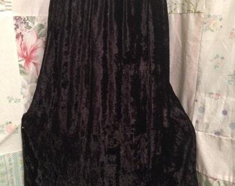 SMALL/MEDIUM Skirt Soft Velveteen Black Embroidered Bohemian Hippie Boho Skirt
