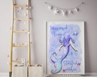 Mermaid Print| Mermaid Wishes print| watercolour mermaid print| Wall art| wall decor