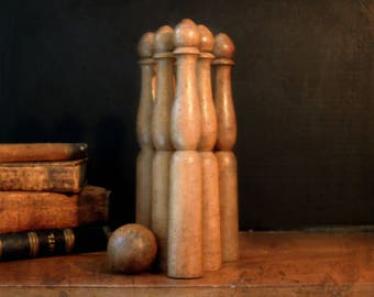 Antique / Vintage / Antique French Skittles /  Wood Bowling Pins / Toy Bowling Pins / Skittles / Wooden Table Top Pins