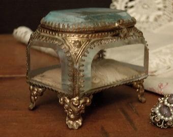 Antique French Ormolu Filigree Casket Trinket Souvenir Jewelry Box / Beveled Glass Lid / French Style Decor / Notre Dame / Souvenir