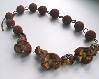 Felted necklace with brass and glass beads Brown felted necklace  Felt necklace  Handmade OOAK Wool necklace