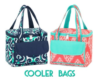 Cooler Bags in Coral and Luna Blue