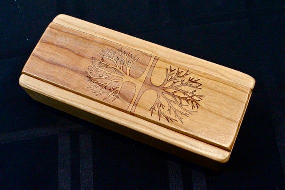 Tree of Life Cherry Vitamin Box, V24, Days of the Week, Wooden Pill Box, Medium Depth, Paul Szewc, Masterpiece Laser
