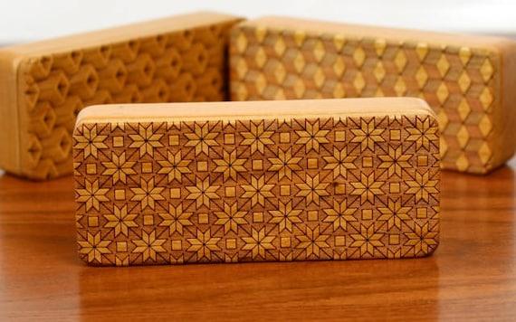 "Quilt pattern Treasures Box, 5"" x 2"" x 1"", Pattern ST3, Solid Cherry, Rare Earth Magnets, Storage Box, Paul Szewc, Masterpiece Laser"