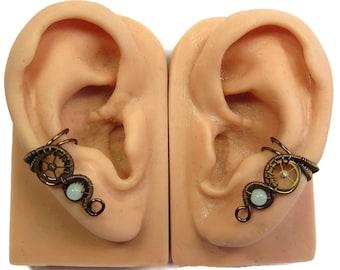 Pair of Amazonite & Bronze Small Steampunk Ear Cuffs - Steampunk Jewelry