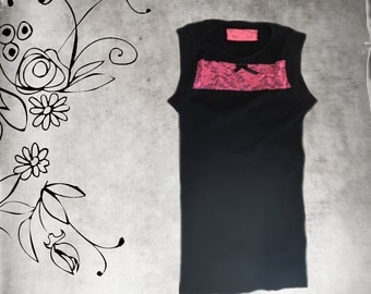 Tank top black/lace chest stripe/Sleeveless knit tee