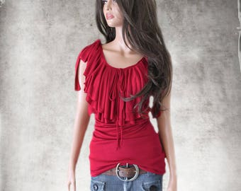 Red tank top/Drape ruffle front/Shoulder tie tee/Knit shirt
