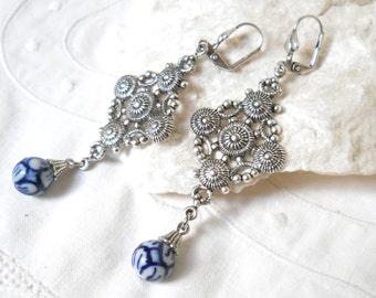 delft blue chandelier earrings delft blue earrings filigree earings delft blue and white delft porcelain earrings delft blue style