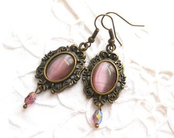 pink chandelier earrings pink earrings bronze earrings pink jewelry bronze jewelry pink dangle earrings cabochon earrings