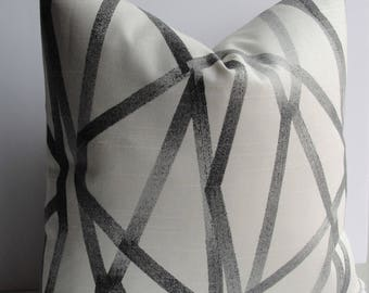 Grey Geometric Intersections designer pillow cover Decorative throw pillow from Genevieve Gorder for Waverly- BOTH SIDES abstract