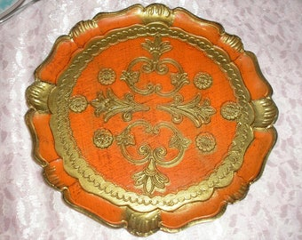 """Gold Leaf Florentia Made in Italy 9""""Tray"""