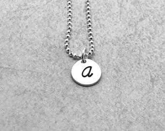 Mother's Necklace, Letter A Necklace, Sterling Silver, Initial Necklace, All Letters Available, Hand Stamped Jewelry, Gifts for Her
