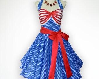 Pretty American Flag Inspiration Moment 50s Pin up Rockabilly Swing Dress Full Swing Skirt